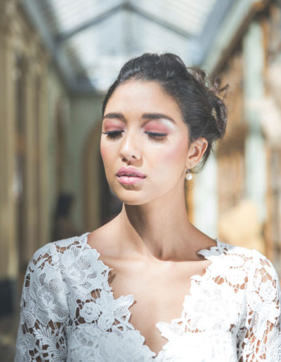 shooting make-up harpe mariage yeux halo rose